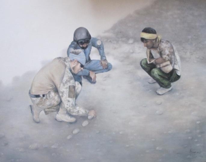 Strategi. Samarbejde mellem de danske soldater og afghansk politi. Dansk soldat, afghansk politi og tolk. Mathilde Fenger. Olie på lærred 2011