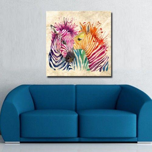 Tablou Canvas    Zebre Colorate