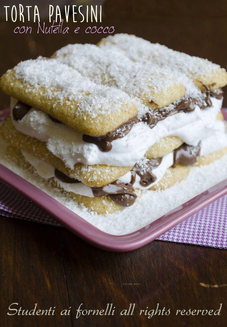 Torta pavesini con Nutella e cocco, ricetta dolce fresco