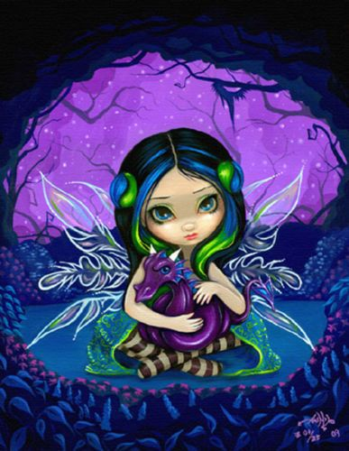 Dragonling Garden 2 dragon fairy goth art Jasmine Becket-Griffith CANVAS PRINT