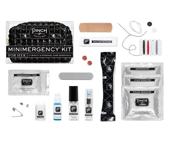 There's no risk involved with the new Edge Minimergency® Kit by Pinch Provisions®. With 17 beauty, personal care, and style essentials, this rich, black patent pyramid pouch contains everything a gal