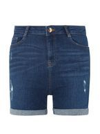 Womens Blue Mid Wash Shaping Shorts- Blue
