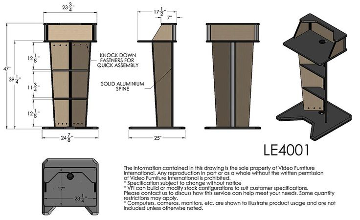 Standard Podium Dimensions   VFI LE4001 V Lectern Dimensional Drawing