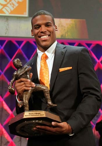 Cam Newton 2010 Heisman Trophy. ~ Check this out too ~ http://etsy.me/1LhWFG4 sports stories that inform and entertain and Train Deck to learn the rules of the game you love. #Collegefootball Let us know what you think. #Auburn