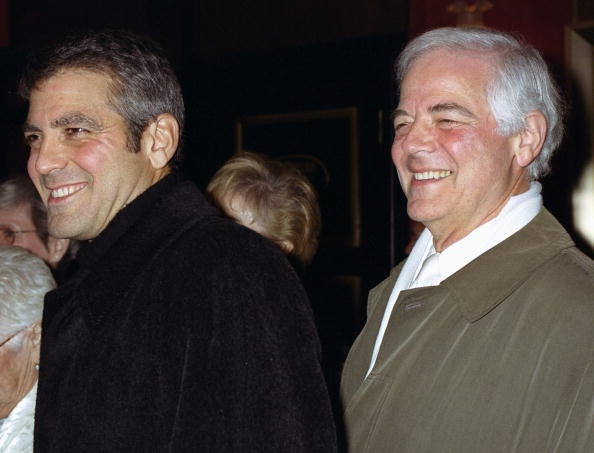 George Clooney arrives with his father, Nick Clooney, for screening of the movie 'O Brother, Where Art Thou?' at the Ziegfeld Theater. George stars in the film.