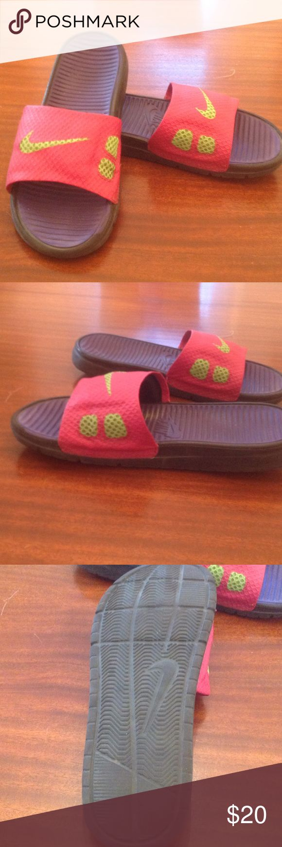 Epically Comfortable Nike slip on sandals These sandals are so comfortable! Perfect for the beach or any other water activities. Purple gel like soles. Lime green mesh Nike design. This shoe will bring much comfort to the soles of its next owner. Quality brand, will last a long time. Excellent condition. Nike Shoes Sandals