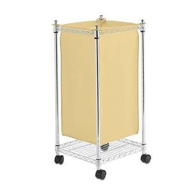 Chrome-Wheeled-Laundry-Hamper-New-Canvas-Washing-Basket-Bin-Bag-Trolley-H750mm
