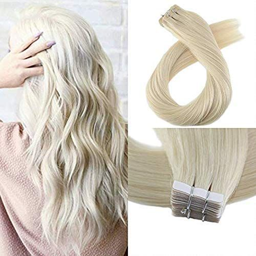 Amazing offer on Moresoo 24 Inch Seamless Skin Weft Straight Unprocessed Remy Human Hair 40 Pieces 100 Grams #60 Platinum Blonde Tape Hair Extensions Glue Hair Women Human Hair Extensions Full Head Tape online