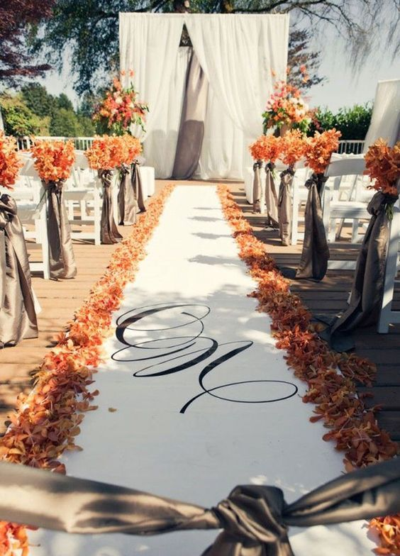1223 best wedding aisle decorations images on pinterest wedding elegant orange floral outdoor wedding ceremony with petal lined aisle featured photographer leanne pedersen junglespirit Image collections