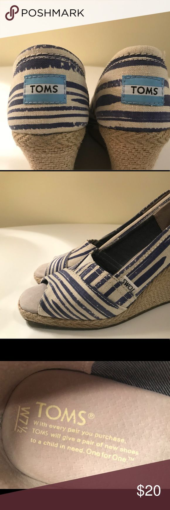 Toms ikat denim and white wedges. Size 7.5. Great summer wedge. Ink blue and white ikat pattern. Cushion sole. Worn twice. Toms Shoes Wedges
