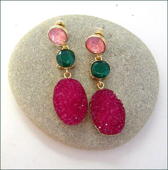 glass green/pink woman earrings Boucles d'oreilles