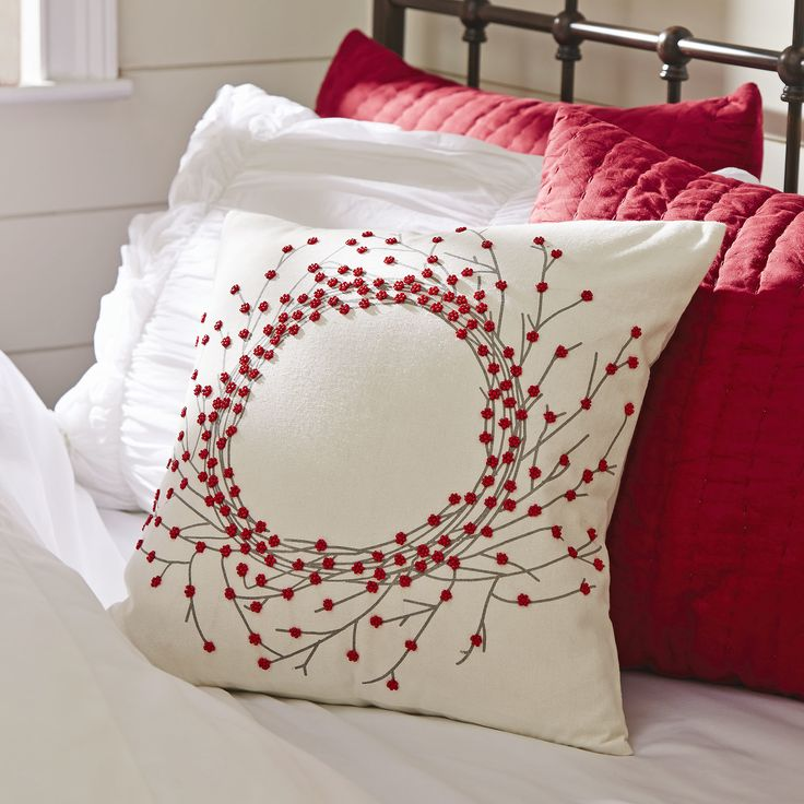 Bailey Beaded Wreath Pillow Cover | With embroidery and beaded embellishments, this decorative pillow cover exudes holiday cheer.