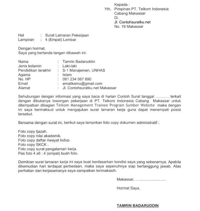 Contoh Surat Lamaran Kerja PT Telkom Terbaru 2016 Format Word