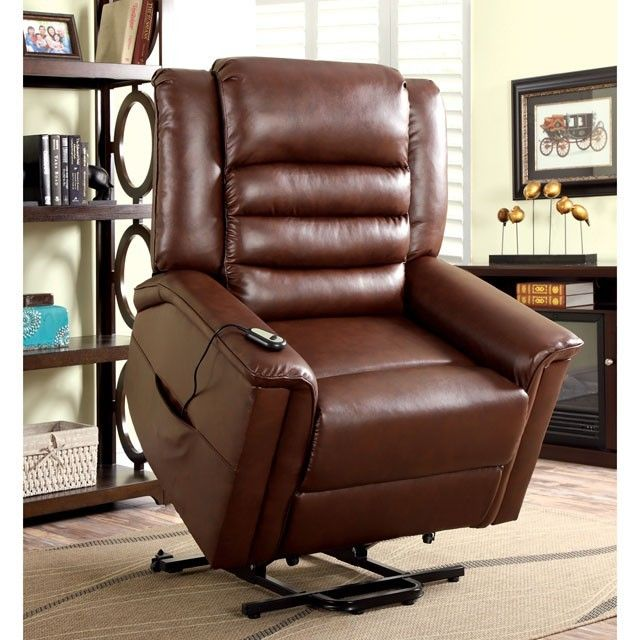 Dubbon Brown Leather Power Lift Chair Recliner CM RC6998 Furniture Of  America