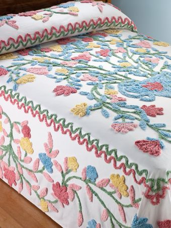 Floral cotton chenille bedspread with a vintage flower basket motif adds 1950s charm to your bedroom decor. Perfect weight for any season.