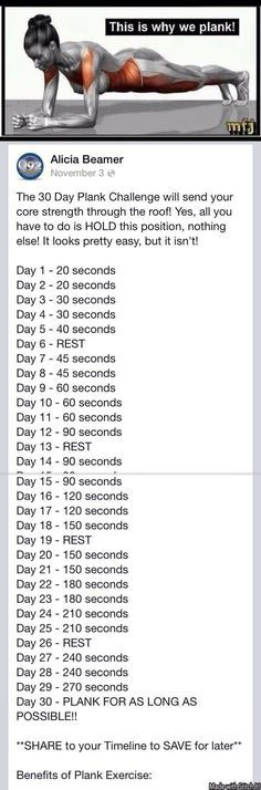 Plank Challenge for all Facebook friends . today is day one . Looks easier than it is . Give it a try !