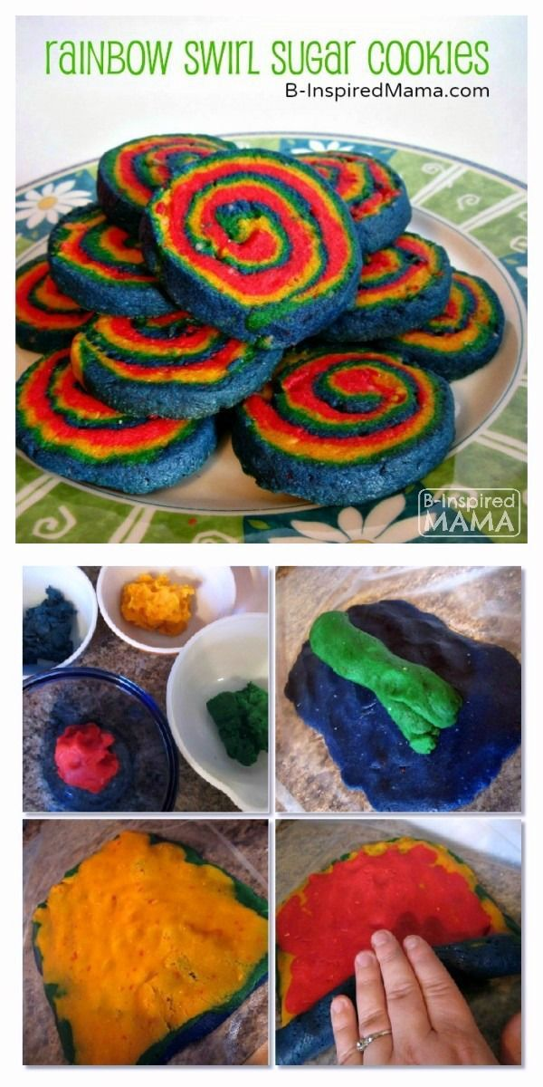 Rainbow Swirl Sugar Cookies - A Colorful Kids in the Kitchen Recipe - Perfect for St. Patrick's Day! at B-Inspired Mama