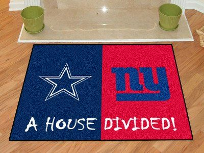 "NFL - Dallas Cowboys/New York Giants House Divided Rugs 33.75""x42.5"""