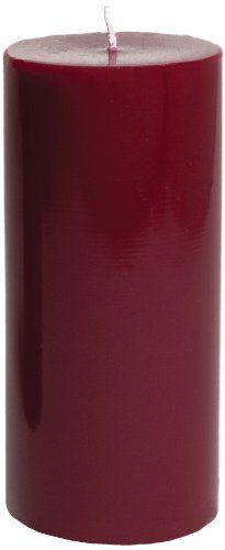Entertaining with Caspari 6-Inch Round Pillar Dripless, Smokeless, Unscented Candle, Bordeaux