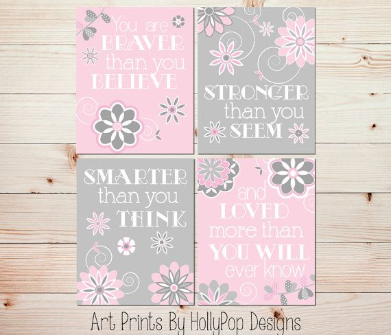 Pink Gray Nursery Decor-You are braver than you believe-Baby Girl nursery wall decor-Toddler Girls Room Wall Art-Set of 4 art Prints-#0805