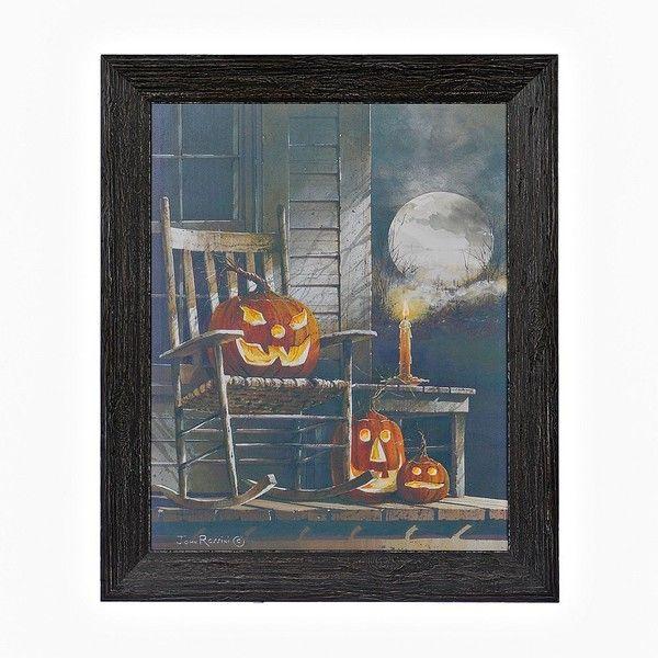 Spooky Jack O' Lantern LED Framed Wall Art (850 UYU) ❤ liked on Polyvore featuring home, home decor, wall art, halloween lanterns, wall lantern, battery powered lanterns, wall home decor and home wall decor
