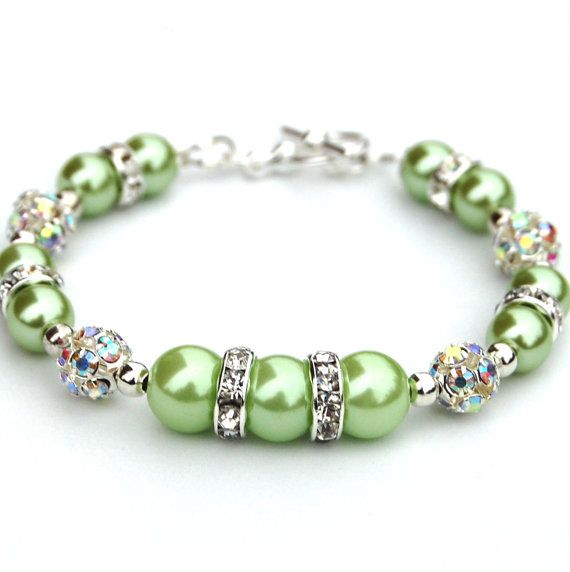 Bridesmaid Jewelry, Apple Green Pearl Rhinestone Bracelet, Bling Bracelet, Gift for Her