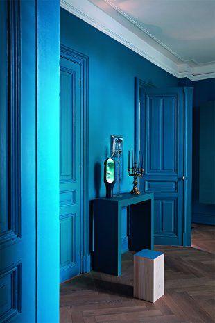 palier entièrement bleu peint couleur Panton Capri Breeze