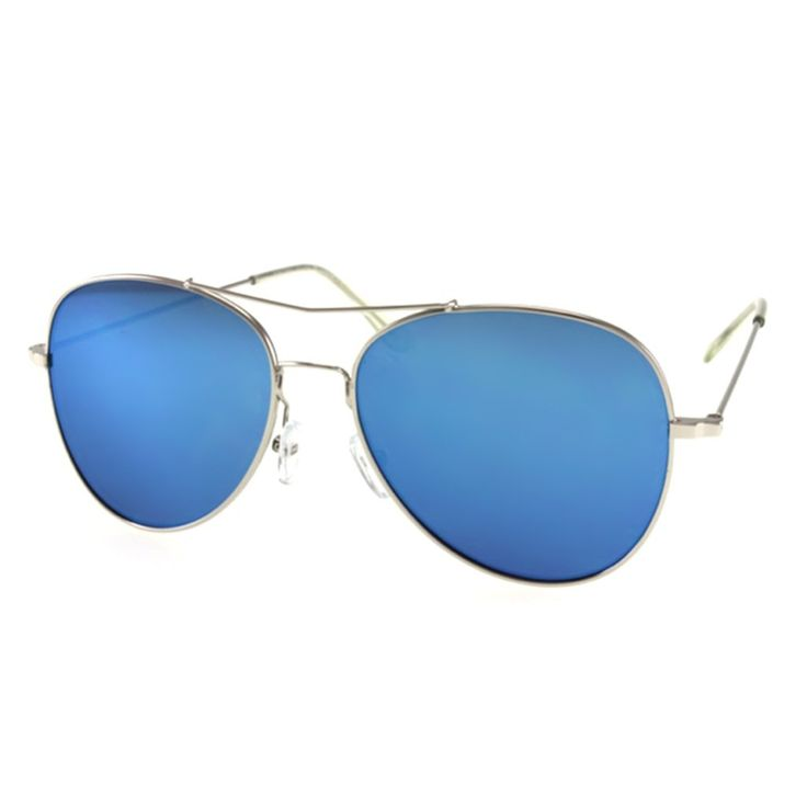 Blue Aviator Sunglasses with Unique Brow Bar