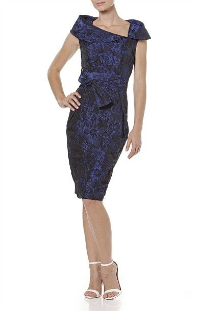 Cocktail - CONCORDE FITTED CAP SLEEVE A-SYMMETRICAL NECKLINE JACQUARD DRESS IN BLUE