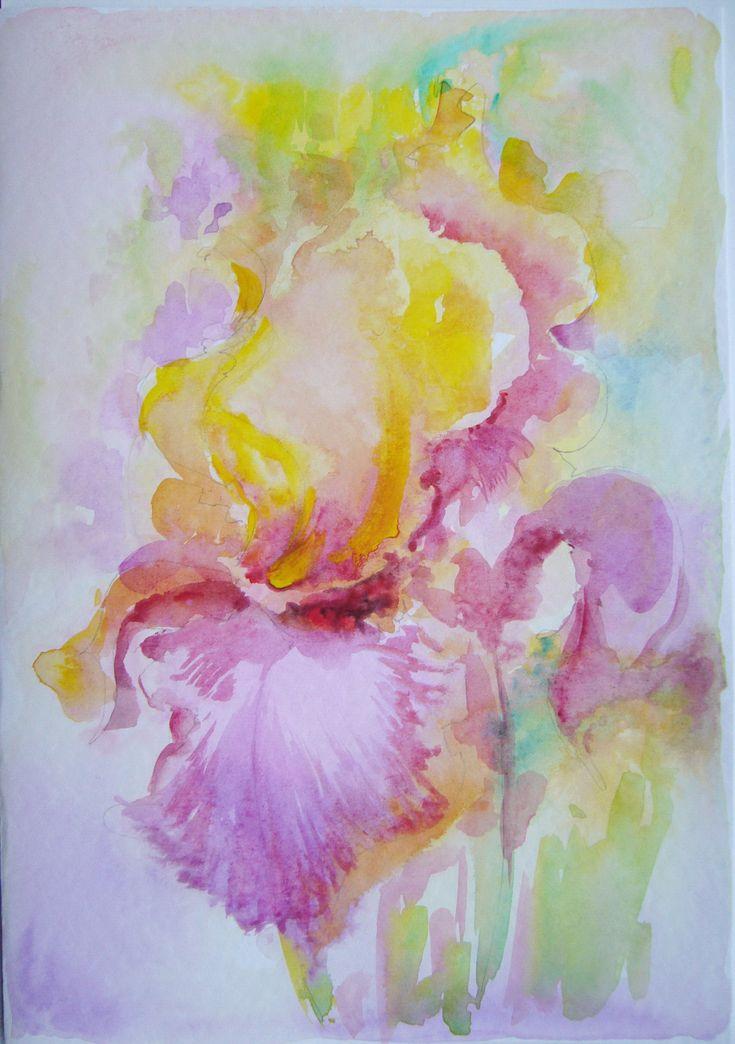Iris- watercolor, March greeting card, 21/15 cm, 2016, Derecichei Simona Mihaela