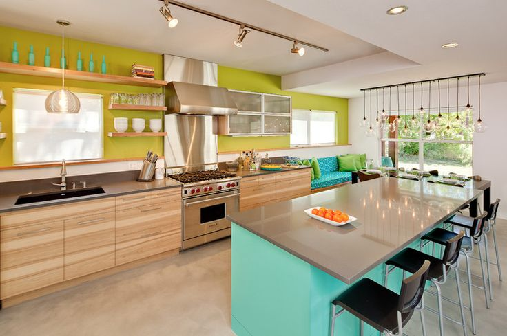 Color in the kitchen (and ADORE that lighting fixture over the far right window!)