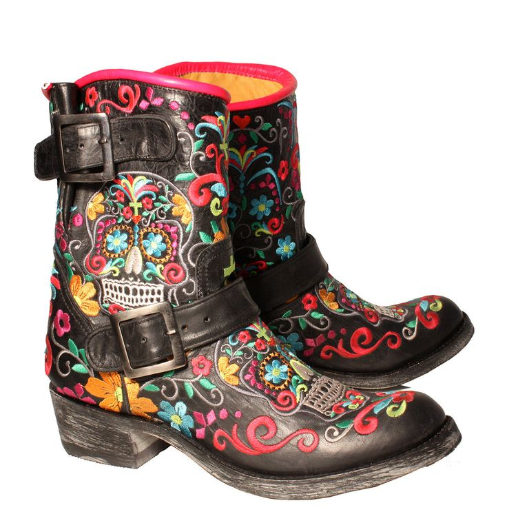 Women's  Black Biker boot with brightly colour Sugar Skull Embroidery from www.rsoles.com