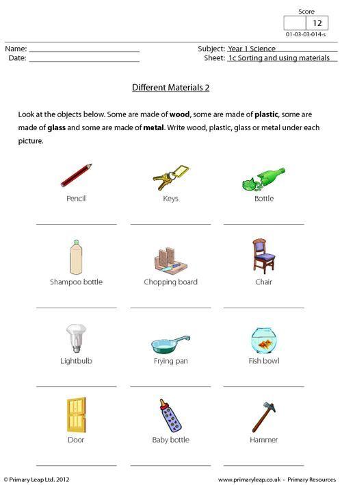 science worksheet different materials science printable worksheets. Black Bedroom Furniture Sets. Home Design Ideas