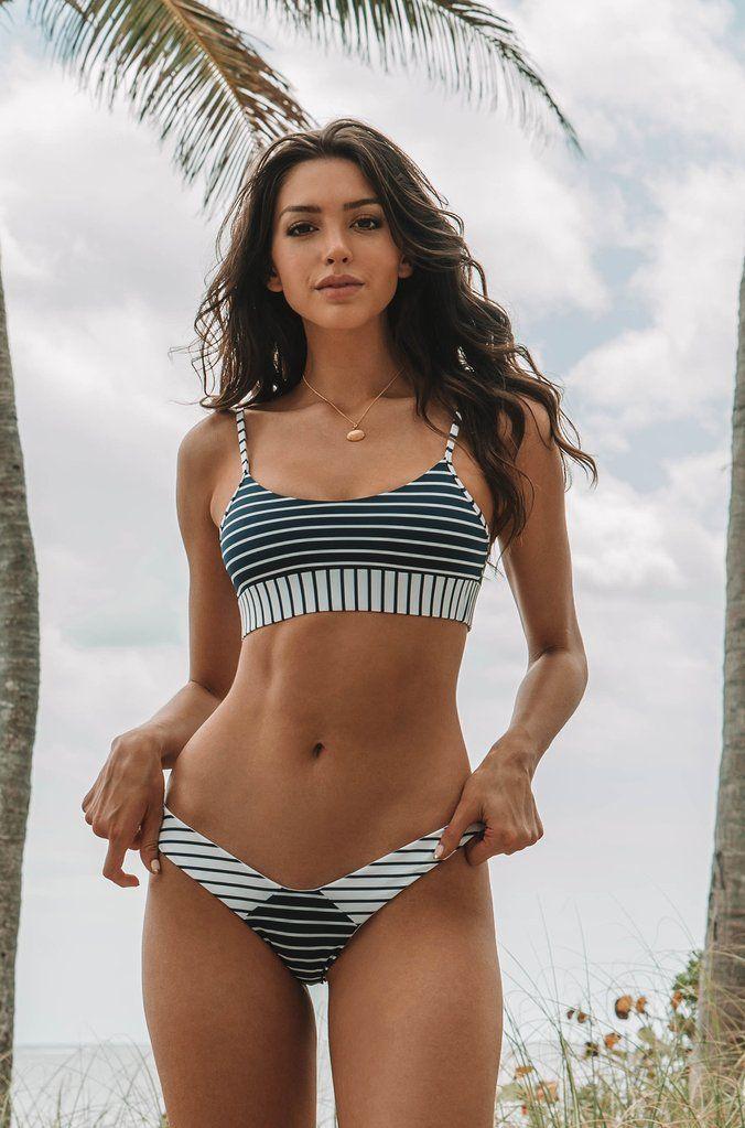 1532e57635 Beach Bunny Chrissy Micro Tango Bottom in Navy White Stripe | *Red ...