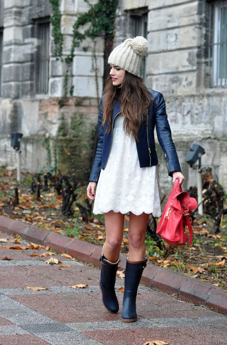 white dress leather jacket and rain boots