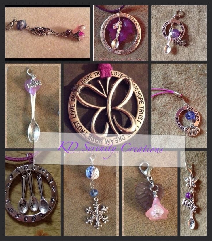 A mix of fibro awareness hewelry made by Katie Dunn, me  of KD Serenity Creations www.kdserenity.com