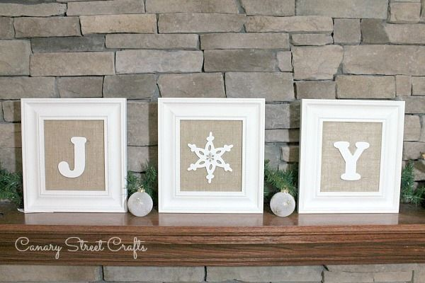 DIY framed burlap JOY sign.  Repurposed thrift store frames, burlap and wooden letters/snowflake. {Canary Street Crafts}