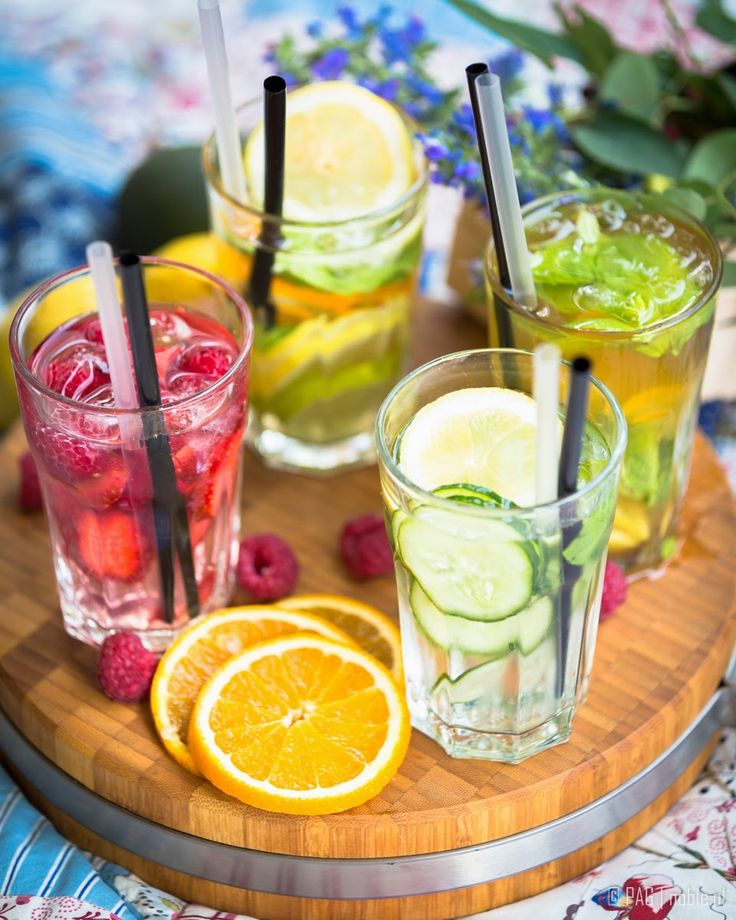 Four homemade ice teas, made of natural only ingredients: lemon, lime, orange, fresh strawberries, raspberries, cucumber, ginger, few mint leaves, and the tea of course!   Like it? Diets, recipes, activities & more @ agnieszkasportygirl.blogspot.com