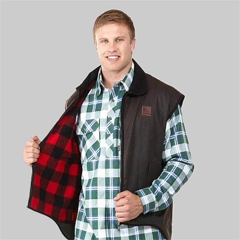 Great collection of Men's Oilskin Jackets & Vests. Variety of colours and lengths.  30 day return policy.  Free delivery within New Zealand., Swanndri Men's Foxton Oilskin Vest with Wool Lining