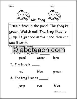 frog writing for kindergarten easy reading worksheets for kindergarten. Black Bedroom Furniture Sets. Home Design Ideas