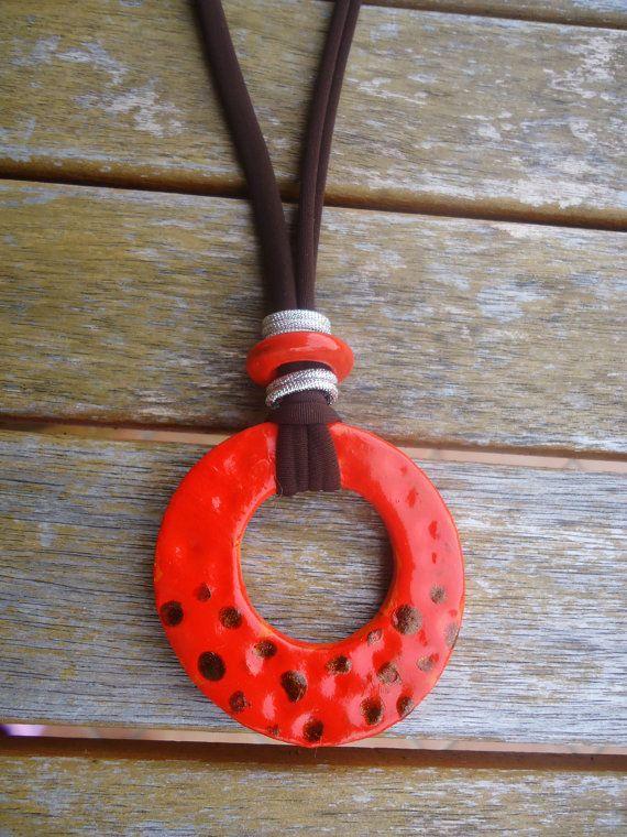 Orange donut pendant...handmade with love...