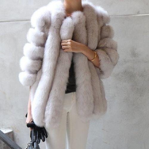 Classy grey fur coat