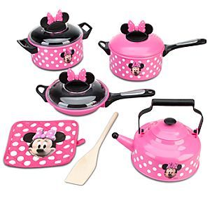 Disney Minnie Mouse Cooking Play Set | Disney StoreMinnie Mouse Cooking Play Set - Cook up an entire afternoon of foodie fun with Minnie's kitchen play set. With pots, pans, a tea kettle and more, Minnie can whip up Mickey's favorite imaginary meal in the flash of a pan! This is just so sweet!