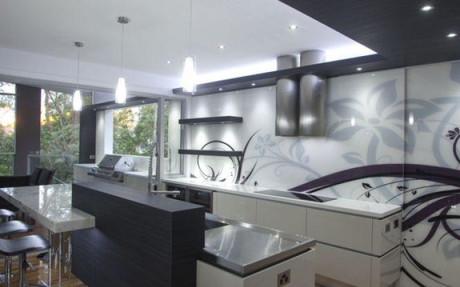 Love this patterned glass splashback patterned glass for International kitchen designs