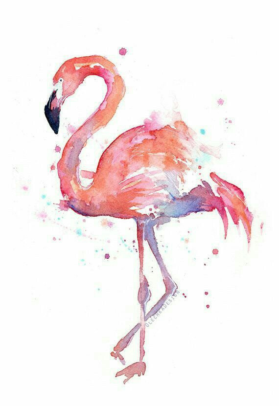 Watercolor Flamingo Tattoo, incorporate flowers into feathers maybe?