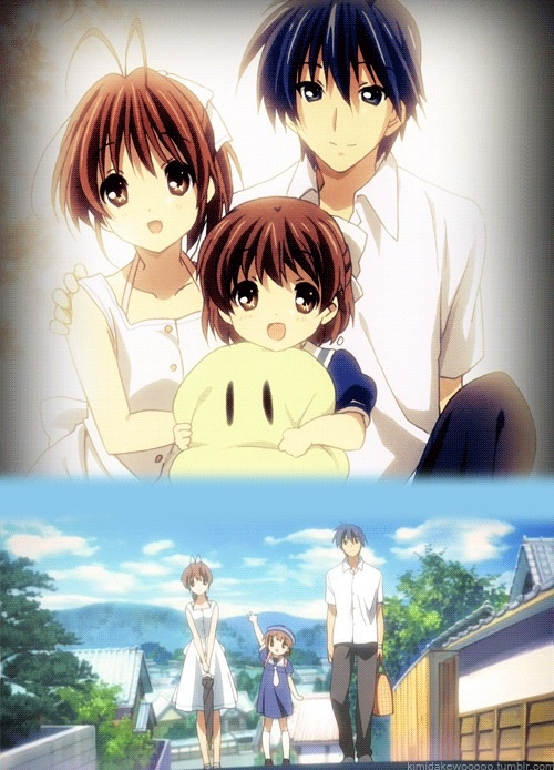 Awwww.. I can't even explain the feelings for this anime. Though it is a bit sad, it shows you how life really is and even a delinquent like Tomoya can be happy. I fell in love with Clannad!