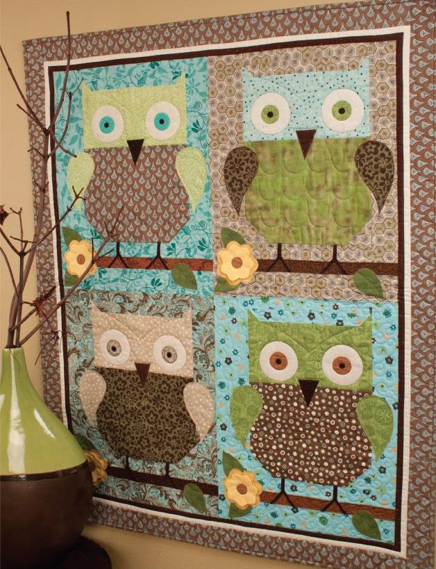 "Owls seem to be everywhere today, but these four flew into the the wayback machine for my ""Retro Owls"" quilt from my 25 Years of Quilts book."