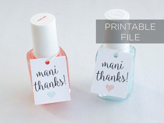 Printable Mani Thanks tags Nail Polish Favor by theglitterpress