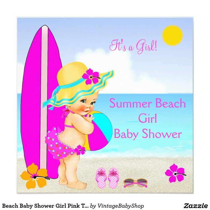 Beach Baby Shower Girl Pink Teal Blue Sunhat Card