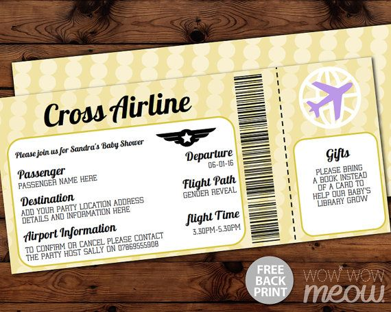 148 best Baby Shower Invitations images on Pinterest Shower - airplane ticket invitations